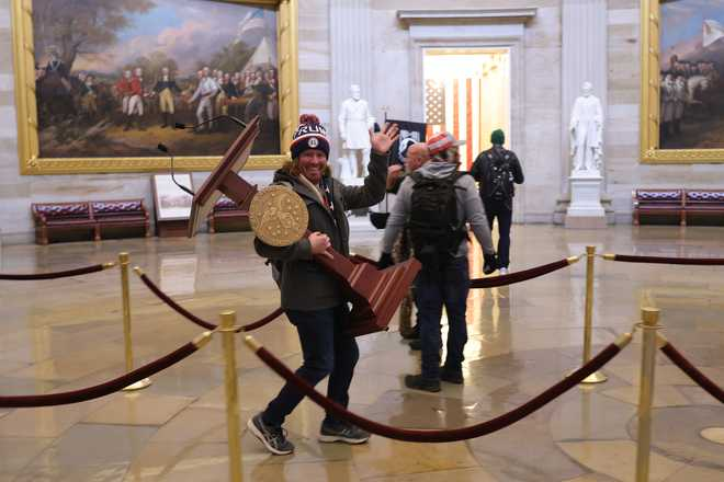 Mob enters the U.S. Capitol Building on Jan. 6, 2021 in Washington, D.C.